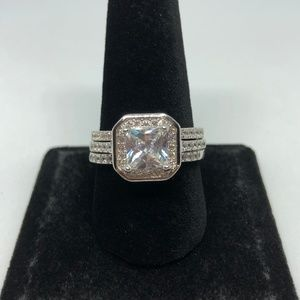 Jewelry - 3pc White Topaz 925 Stamped SS Ring Size 10